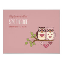 Pink Sweethoot Save The Date Card #2