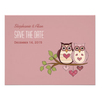 Pink Sweethoot Save The Date Card #2 Custom Announcements