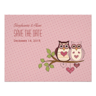 Pink Sweethoot Save The Date Card Personalized Invite