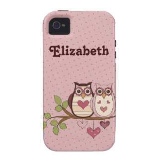 Pink Sweethoots Personalized Iphone 4 Case