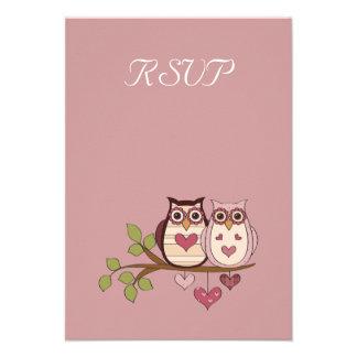 Pink Sweethoots Wedding RSVP Card Invites