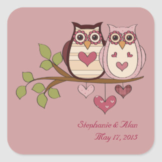 Pink Sweethoots Wedding Stickers