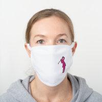 Pink Swinging Lady Golfer White Cotton Face Mask