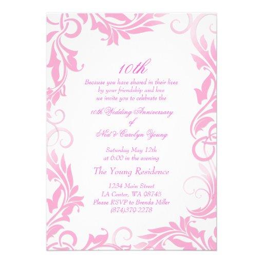 "Pink Swirl 10th Wedding Anniversary Invitation 5"" X 7"