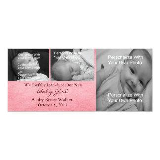 Pink Swirl Baby Girl Photo Announcement