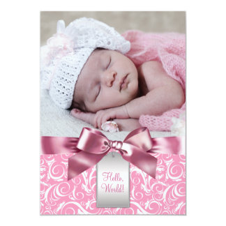 Pink Swirl Baby Girl Photo Birth Announcement