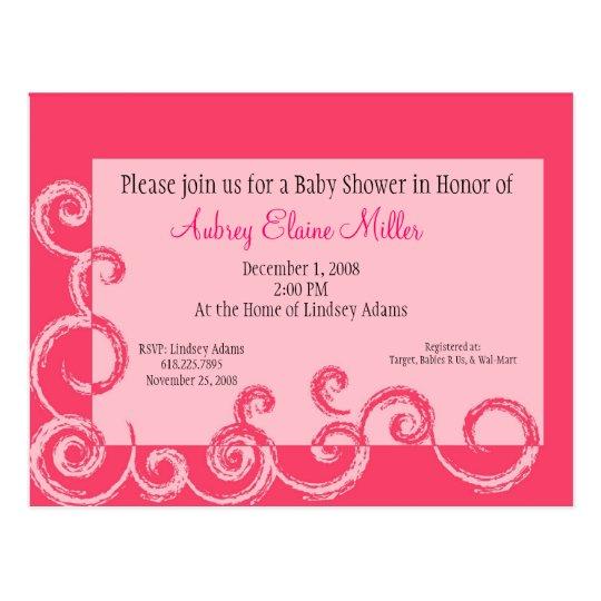 Pink Swirl Baby Shower Invitation Postcard