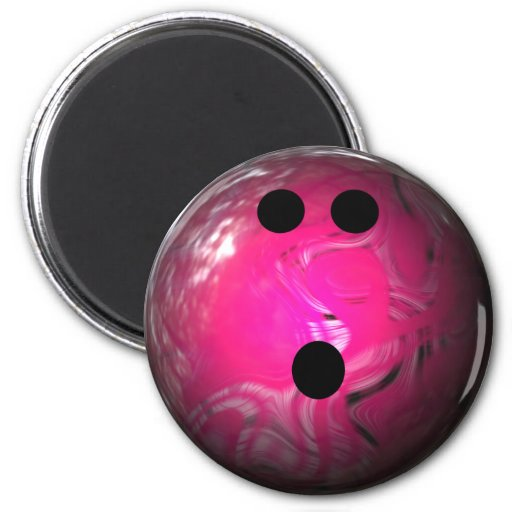 Pink Swirl Bowling Ball 2 Inch Round Magnet