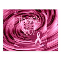 Pink Swirl Breast Cancer Thank You Postcard