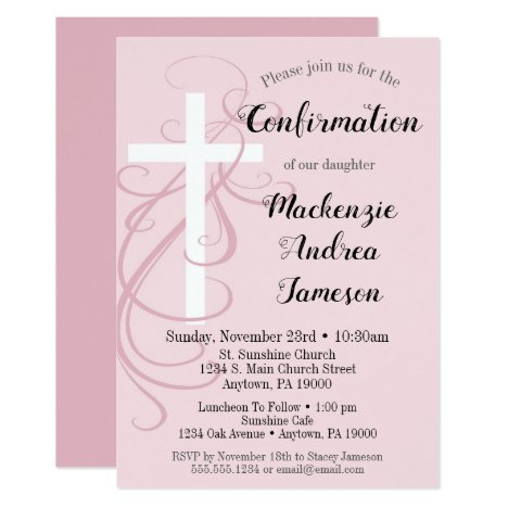 Pink Swirl Cross Confirmation Invitation Girl
