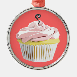 Pink swirl cupcake iPod Touch case Metal Ornament