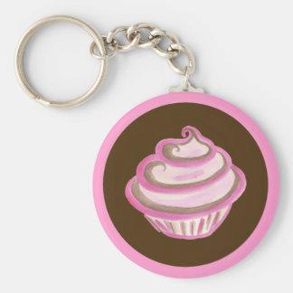Pink Swirl Cupcake Keychain