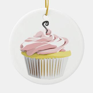 Pink swirl cupcake ornament