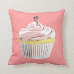 Pink swirl cupcake pillow