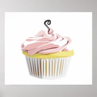 Pink swirl cupcake poster