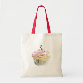 Pink swirl cupcake tote bags