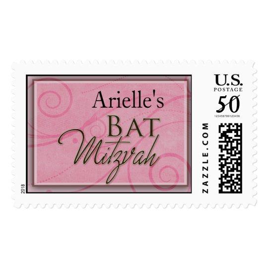 Pink Swirl Custom Bat Mitzvah postage stamp
