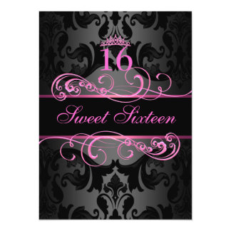 Pink Swirl Damask Sweet16 Birthday Invite
