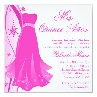 Pink Swirl Dress Winter Wonderland Quinceanera 5.25x5.25 Square Paper Invitation Card