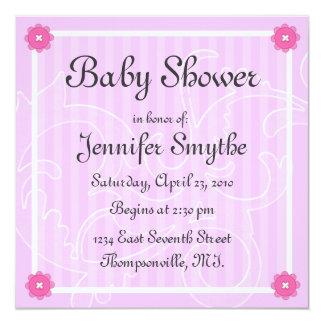 "Pink Swirl Flower Baby Shower Invitation 5.25"" Square Invitation Card"