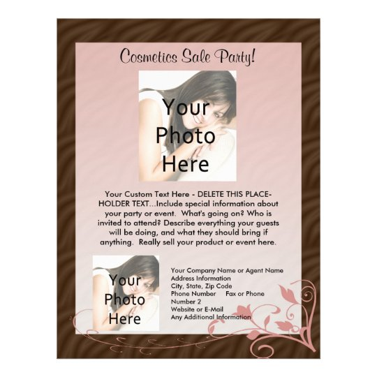 Pink Swirl Flyer Template, Cosmetics Party Any Use