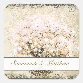 Pink Swirl Heart Leaf Tree Wedding Seal