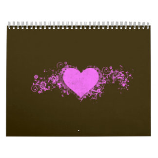 Pink Swirl Heart on Brown Background Wall Calendars