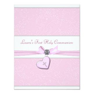 "Pink Swirl Heart Pink Cross First Communion 4.25"" X 5.5"" Invitation Card"