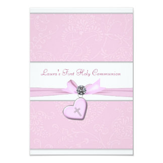 Pink Swirl Heart Pink Cross First Communion 3.5x5 Paper Invitation Card