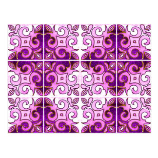 Pink Swirl Inspired by Portuguese Azulejos Postcard