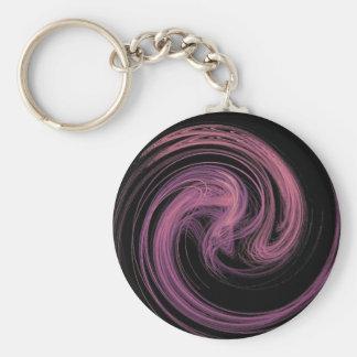 pink swirl basic round button keychain