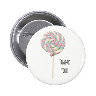 Pink Swirl Lollipop Button