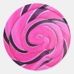 Pink Swirl Lolly Round Sticker