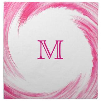 Pink Swirl Modern Abstract Monogram Napkin
