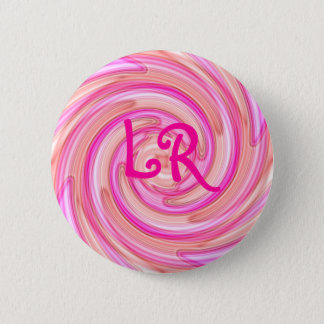 Pink swirl monogram pinback button