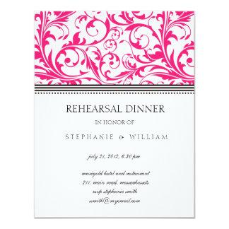 Pink Swirl Rehearsal Dinner Card