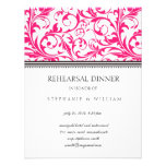 Pink Swirl Rehearsal Dinner Card Announcements