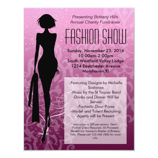 fashion show ticket template - pink swirl silhouette fashion show invitations