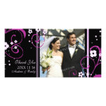 Pink Swirl Thank You Wedding Photo Cards
