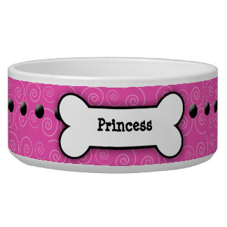 Pink Swirl Trendy Dog Bone Dog Dish