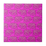 Pink Swirling Elephant Pattern Ceramic Tiles