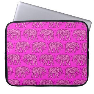 Pink Swirling Elephant Pattern Laptop Sleeve