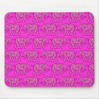Pink Swirling Elephant Pattern Mouse Pad