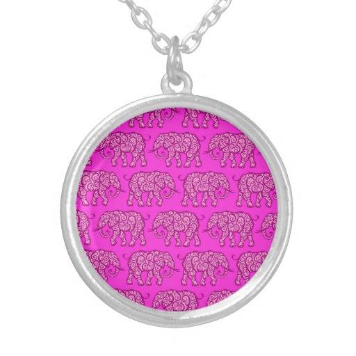 Pink Swirling Elephant Pattern Pendants