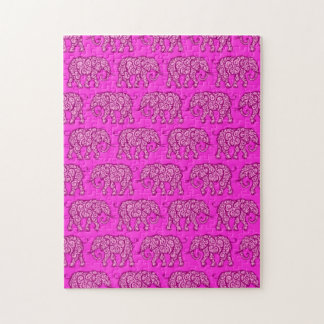 Pink Swirling Elephant Pattern Puzzle