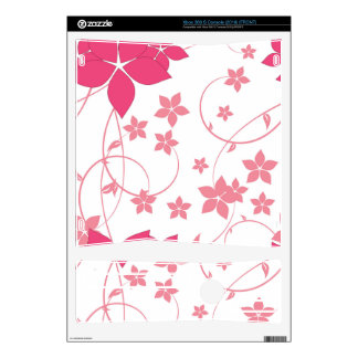 Pink Swirling Flowers Design Xbox 360 S Console Skins