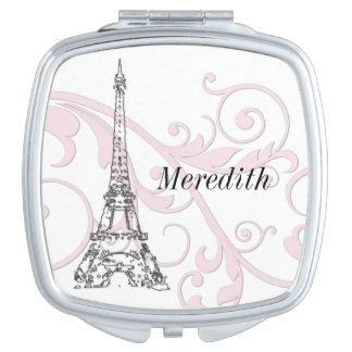 Pink Swirling Scrolls and Eiffel tower Makeup Mirror