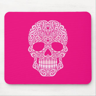 Pink Swirling Sugar Skull Mouse Pad