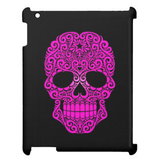 Pink Swirling Sugar Skull on Black Cover For The iPad 2 3 4