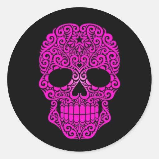 Pink Swirling Sugar Skull on Black Round Sticker